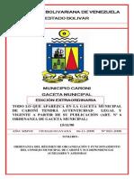 Ordenanza Del Regimen de Organizacion y Funcionamiento Del Consejo Municipal de Caroni y Sus Dependencias Auxi