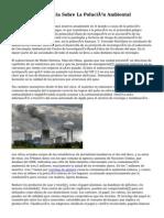 Tomemos Conciencia Sobre La Polución Ambiental