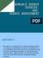 Renewable Energy Sources, energy balance for a village