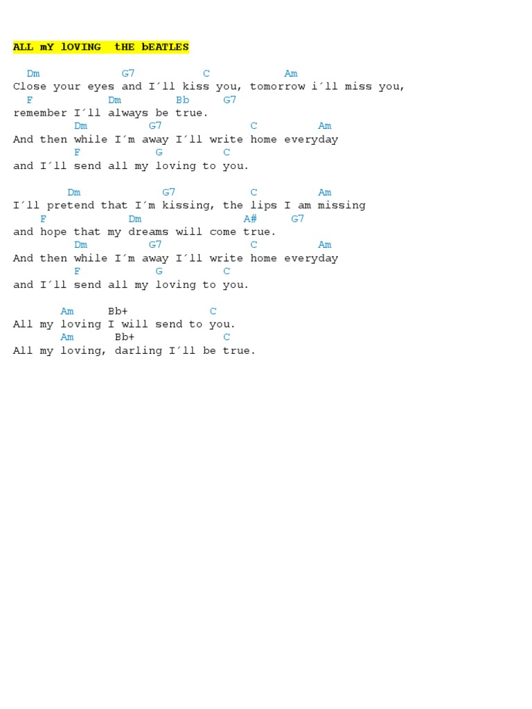 All My Loving Chords   PDF