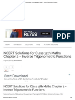 NCERT Solutions for Class 12th Maths Chapter 2 - Inverse Trigonometric Functions