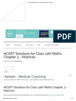 NCERT Solutions for Class 12th Maths Chapter 3 - Matrices