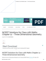 NCERT Solutions for Class 12th Maths Chapter 11 - Three Dimensional Geometry
