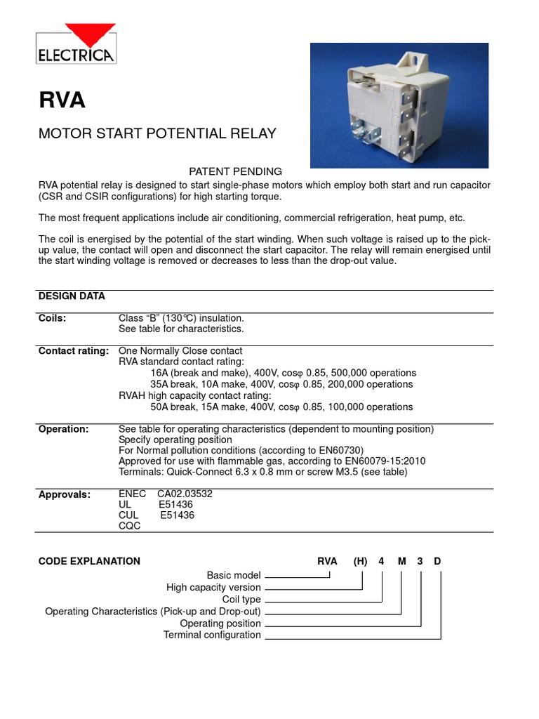Electrica Rva Relay Electromagnetism Coil Pickup Voltage