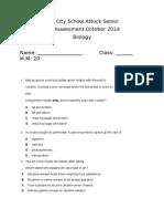 Biology October Assessment