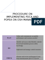 Procedure on Implementing Pdca and Popea on Osh Management