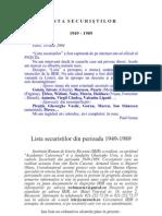 Lista securistilor 1949-1989