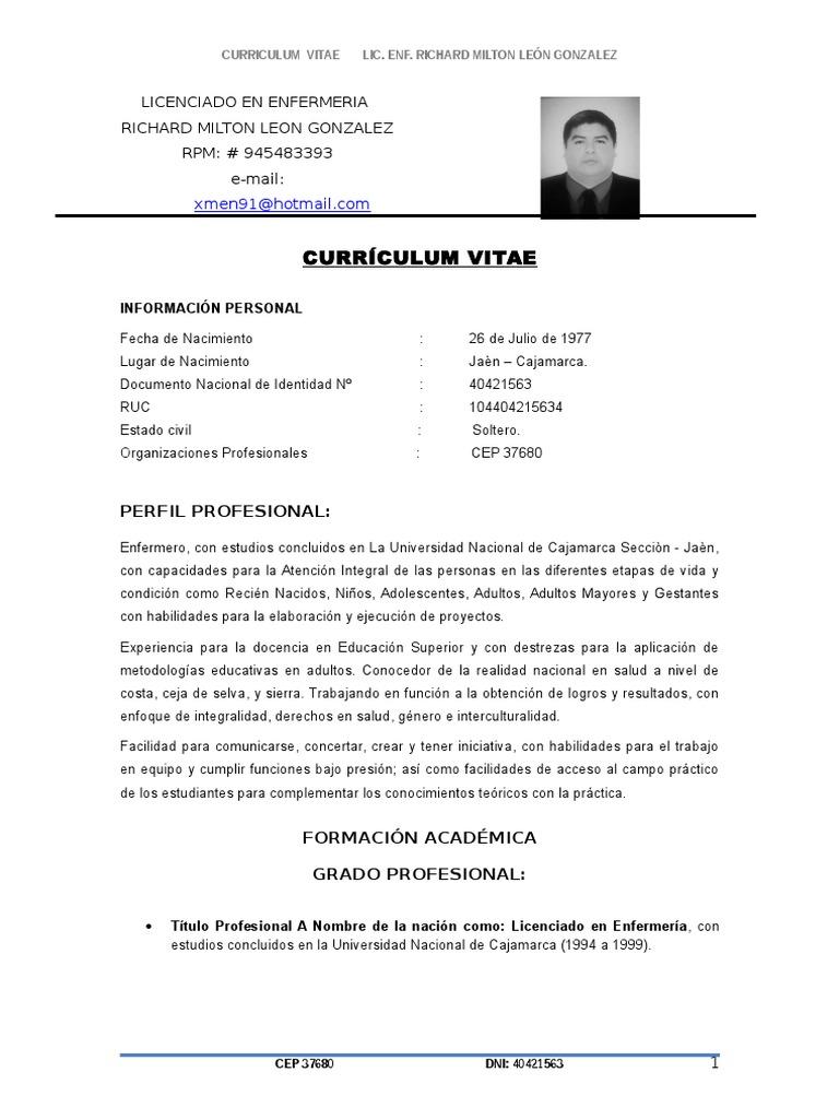 Perfecto Currículum Vitae Para Prácticas De Enfermera Estudiante ...