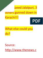 Mufti Saeed Jalalpuri The Biggest Opponent of Zaid Hamid Got assasinated