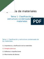 clasificacion y estructura condensada de los materiales