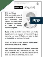 Grade 1 Islamic Studies - Worksheet 5.1 - Dhikr and Du'a - Part 1