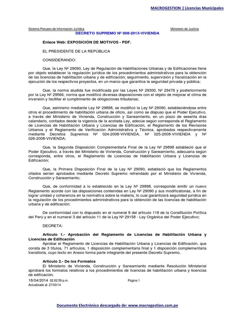 Decreto-Supremo-008-2013-VIVIENDA-Reglamento-de-Licencias-de ...