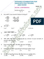 Polytechnic Entrance Exam (CEEP) 2009 Question paper & Answer Key