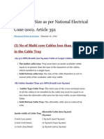 Cable Tray Size as Per National Electrical Code-2002. Article 3