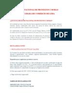 09 Registro Nacional de Protestos de La Camara de Comercio de Lima