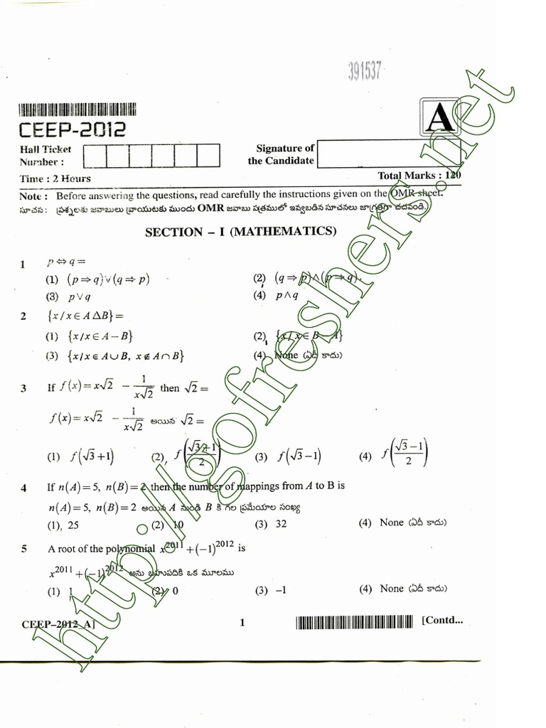 Polytechnic (CEEP) Exam 2012 Question and Answer Key Paper