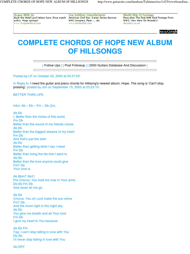 Complete chords of hope new album of hillsongs eternal life complete chords of hope new album of hillsongs eternal life christianity angel hexwebz Images