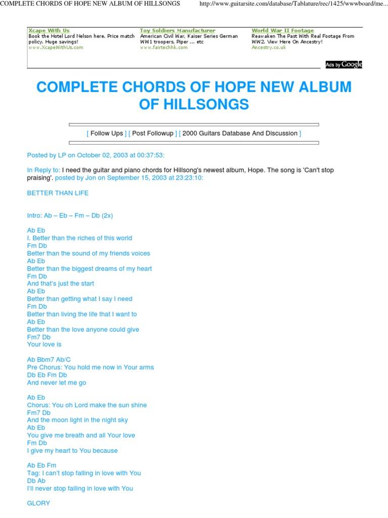 Complete Chords Of Hope New Album Of Hillsongs Eternal Life