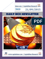 Daily MCX Commodity market News – 21 SEP 2015