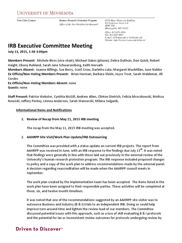 university of minnesota irb executive committee minutes july 2015
