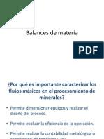 Balances de Materia en El Procesamiento de Minerales