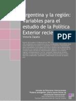 ZAPATA - Argentina y La Región - Variables Para El Estudio de La Política Exterior Reciente