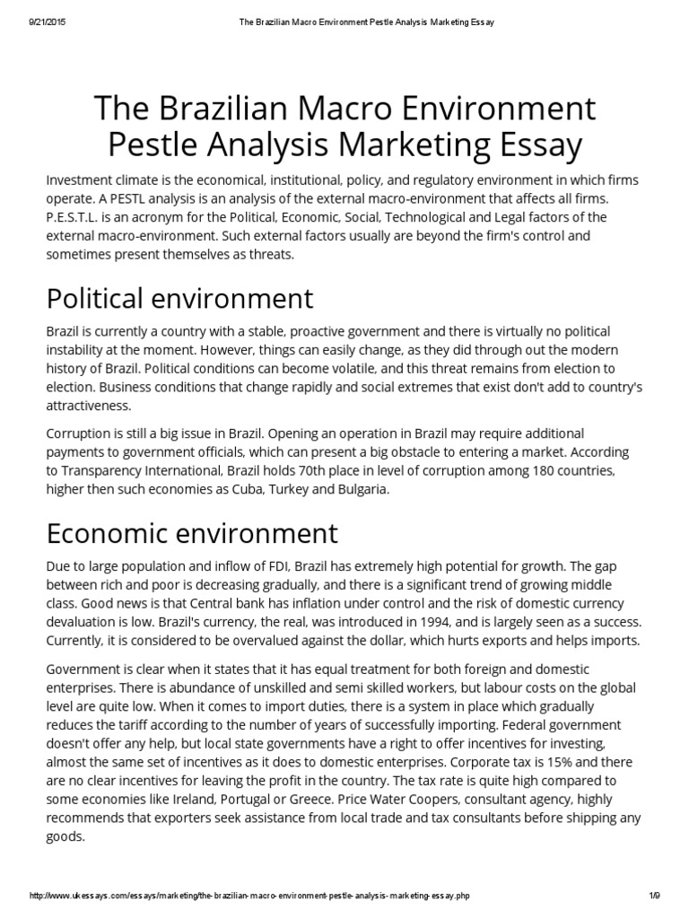 Market environment essay