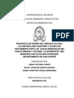 Propuesta de Diseño Del Drenaje Pluvial, Alcantarillado Sanitario y Planta de Tratamiento Para Las Aguas Residuales Del Casco Urbano y Colonia La Entrevista Del Municipio San Cayetano Istepeque, Departamento de San V
