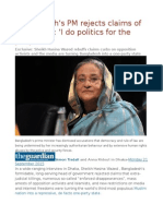 Bangladesh's PM Rejects Claims of Repression 'I Do Politics for the People'