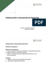 Clase 1 Formulación y Evaluación de Proyectos