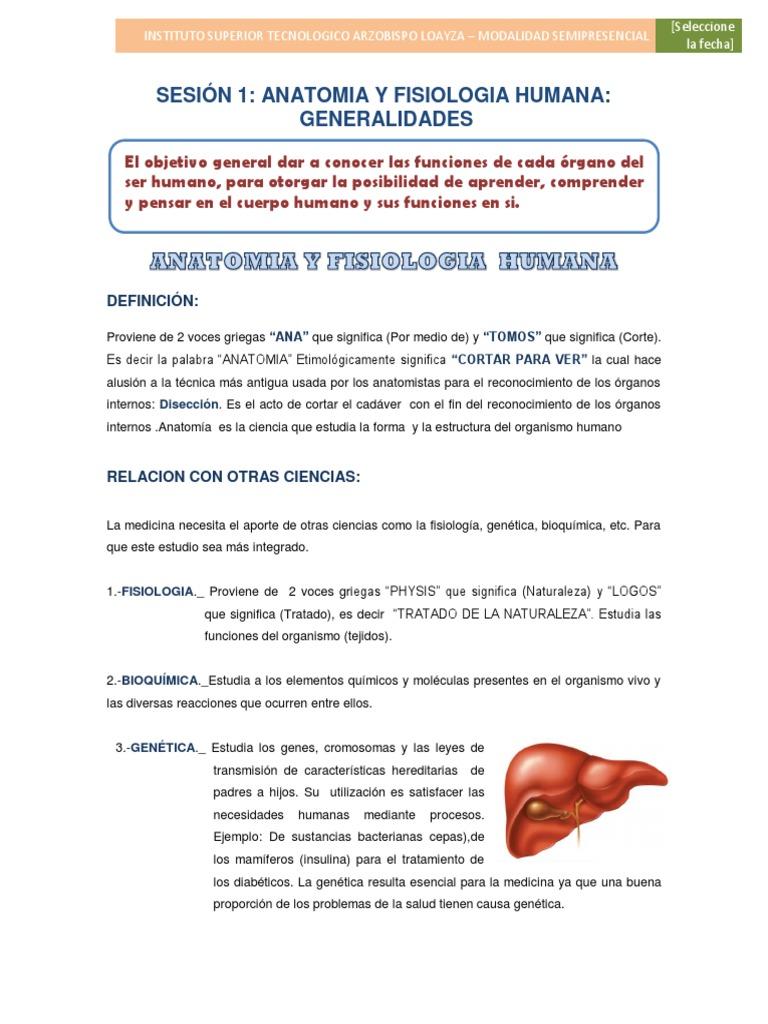 Sesion 01 - Anatomia y Fisiologia Humana - Genralidades