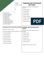 Cantones de La Provincia Del Azuay