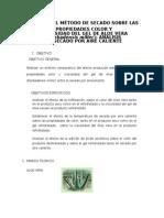 Efecto Del Método de Secado Aloe Vera Secado