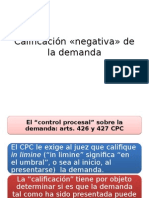 DER.PROC.CIVIL I - Calificación «negativa» de la demanda