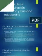 Escuela de La Administración Científica y Humano Relacionista