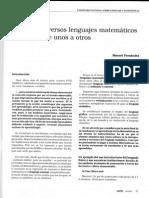 Sobre Los Diversos Lenguajes Matemáticos y Del Paso de Unos a Otros - M. Fernández