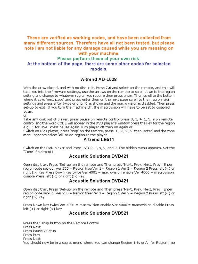 DVD Player Codes | Storage Media | Media Formats