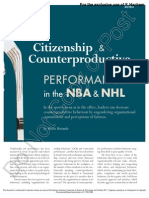 Performance in Nba and NHL