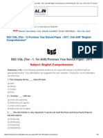 SSC CGL (Tier - 1) Previous Year Solved Paper - 2011, 2nd Shift _English Comprehension_ _ SSCPORTAL
