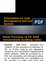Orientation on Cash Management and Control System