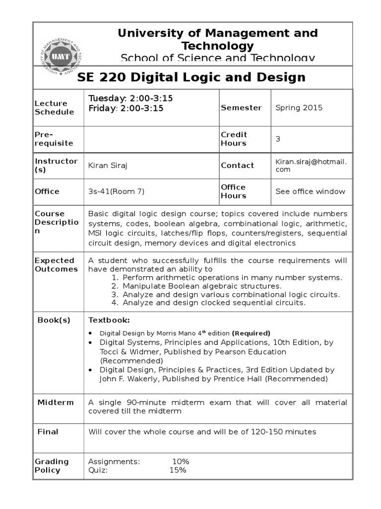 Digital Logic Design Boolean Algebra Electronics Electronic Circuit Quiz