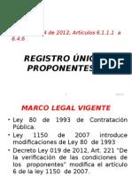 Contenido del Registro Proponentes en Colombia.