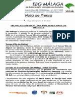 41.- Primeros Buenas Sensaciones Para Ebg Málaga