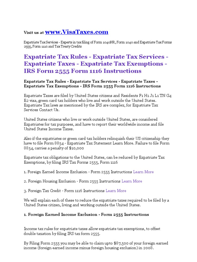 Expatriate taxes services expatriate tax rules expatriate tax expatriate taxes services expatriate tax rules expatriate tax exemptions form 2555 form 1116 instructions irs tax forms taxes falaconquin