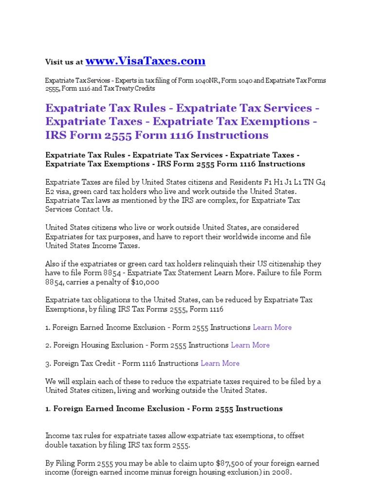 Expatriate Taxes Services Expatriate Tax Rules Expatriate Tax ...