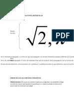 Error en Las Operaciones Aritmeticas