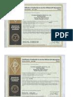 API Certificates 2014-2017