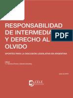 RESPONSABILIDAD DE INTERMEDIARIOS Y DERECHO AL OLVIDO. Policy Paper