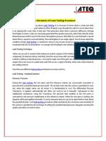 Learn the Basics of Leak Testing Procedure