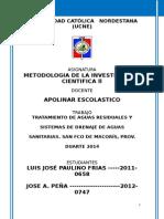Tratamiento de Aguas Residuales y Sistemas de Drenaje de Aguas Sanitarias. San Fco de Macorís, Prov. Duarte 2014-1